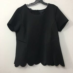 Eloquii scalloped hem short sleeve stretchy blouse